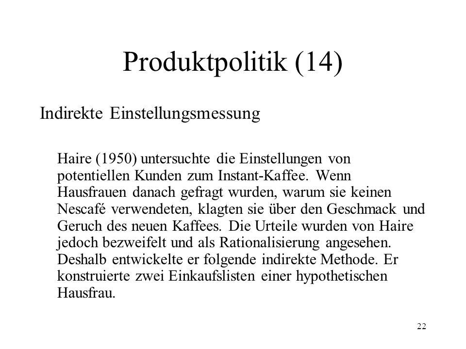 22 Produktpolitik (14) Indirekte Einstellungsmessung Haire (1950) untersuchte die Einstellungen von potentiellen Kunden zum Instant-Kaffee. Wenn Hausf