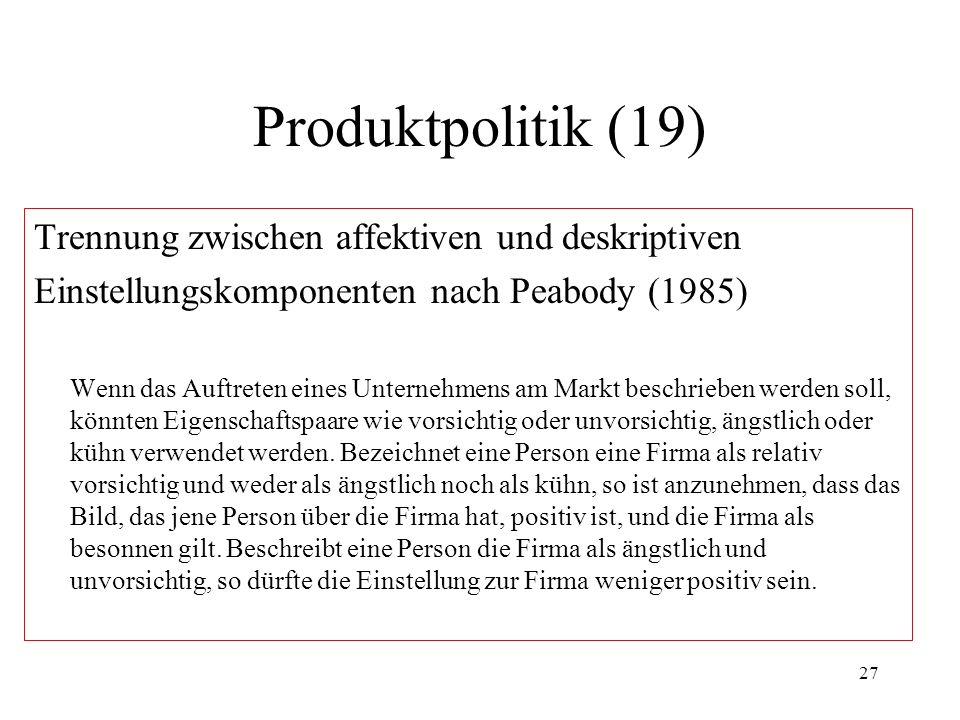 27 Produktpolitik (19) Trennung zwischen affektiven und deskriptiven Einstellungskomponenten nach Peabody (1985) Wenn das Auftreten eines Unternehmens