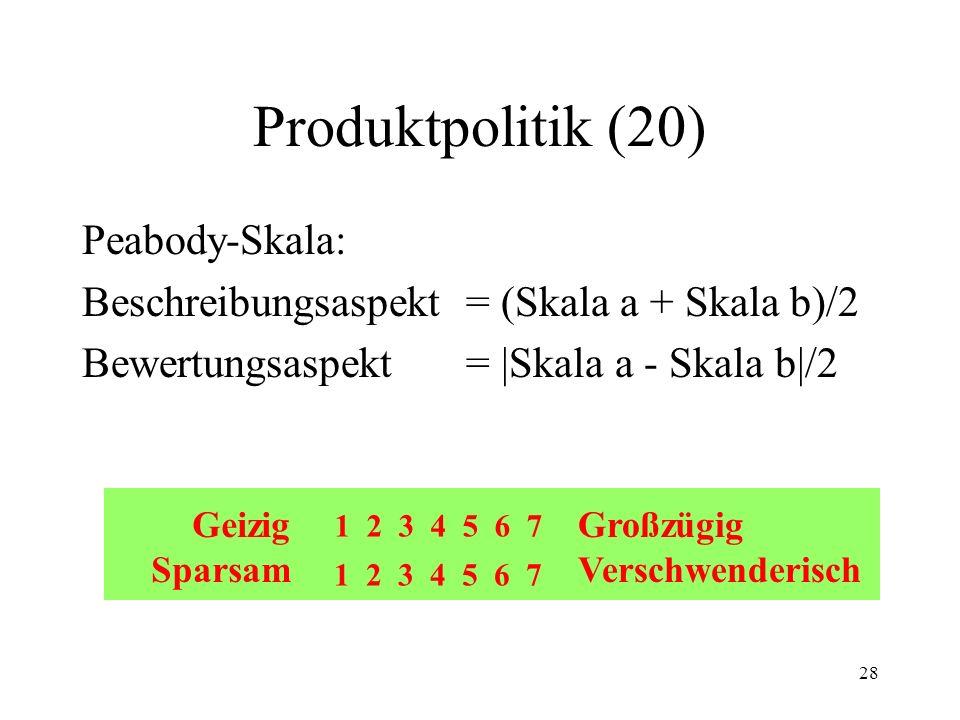 28 Produktpolitik (20) Peabody-Skala: Beschreibungsaspekt = (Skala a + Skala b)/2 Bewertungsaspekt= |Skala a - Skala b|/2 Geizig Sparsam Großzügig Ver