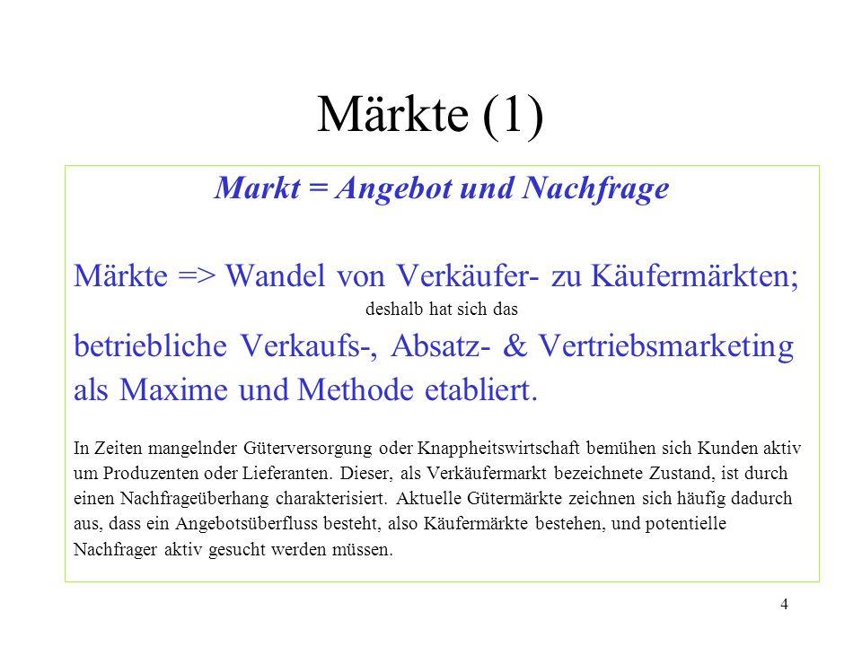 4 Märkte (1) Markt = Angebot und Nachfrage Märkte => Wandel von Verkäufer- zu Käufermärkten; deshalb hat sich das betriebliche Verkaufs-, Absatz- & Ve