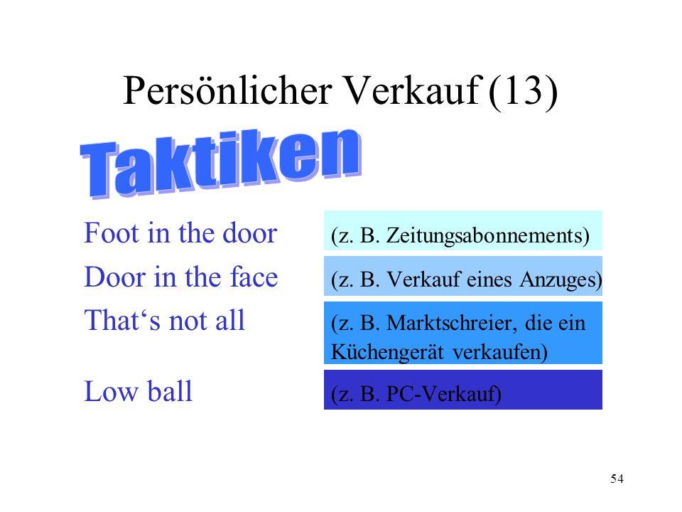54 Persönlicher Verkauf (13) Foot in the door (z. B. Zeitungsabonnements) Door in the face (z. B. Verkauf eines Anzuges) Thats not all (z. B. Marktsch