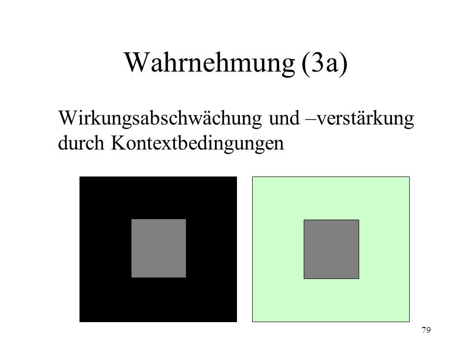 79 Wahrnehmung (3a) Wirkungsabschwächung und –verstärkung durch Kontextbedingungen