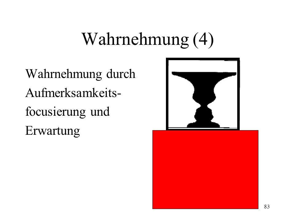 83 Wahrnehmung (4) Wahrnehmung durch Aufmerksamkeits- focusierung und Erwartung