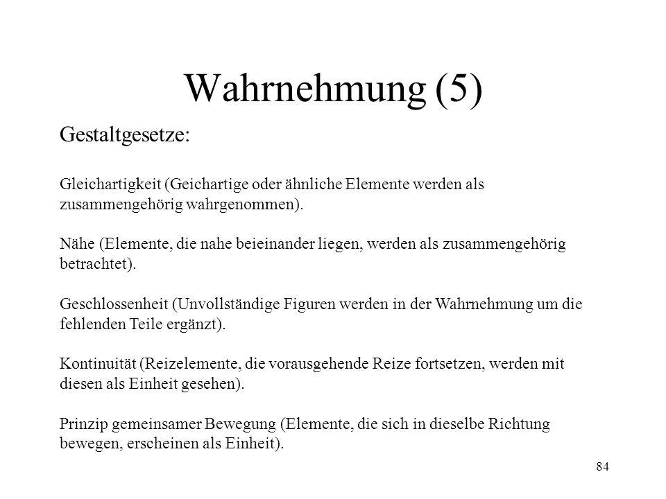 84 Wahrnehmung (5) Gestaltgesetze: Gleichartigkeit (Geichartige oder ähnliche Elemente werden als zusammengehörig wahrgenommen). Nähe (Elemente, die n