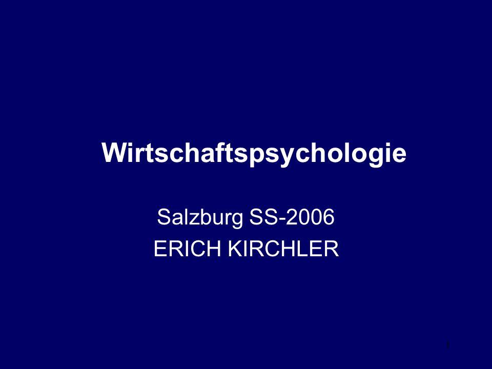 1 Wirtschaftspsychologie Salzburg SS-2006 ERICH KIRCHLER