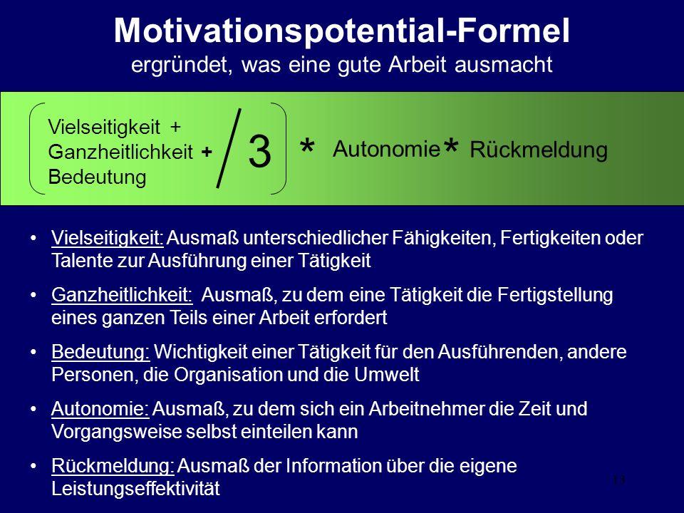 13 Motivationspotential-Formel ergründet, was eine gute Arbeit ausmacht Vielseitigkeit + Ganzheitlichkeit + Bedeutung Autonomie Rückmeldung 3 ** Viels
