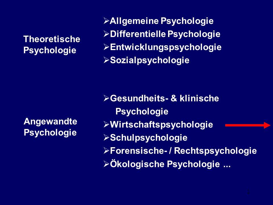 2 Theoretische Psychologie Allgemeine Psychologie Differentielle Psychologie Entwicklungspsychologie Sozialpsychologie Angewandte Psychologie Gesundheits- & klinische Psychologie Wirtschaftspsychologie Schulpsychologie Forensische- / Rechtspsychologie Ökologische Psychologie...
