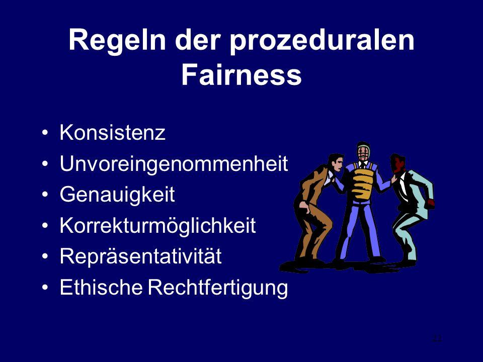 22 Regeln der prozeduralen Fairness Konsistenz Unvoreingenommenheit Genauigkeit Korrekturmöglichkeit Repräsentativität Ethische Rechtfertigung