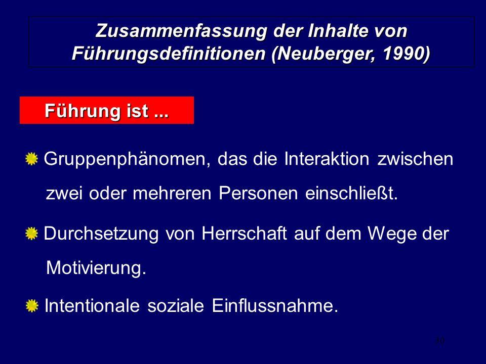 30 Zusammenfassung der Inhalte von Führungsdefinitionen (Neuberger, 1990) Gruppenphänomen, das die Interaktion zwischen zwei oder mehreren Personen ei