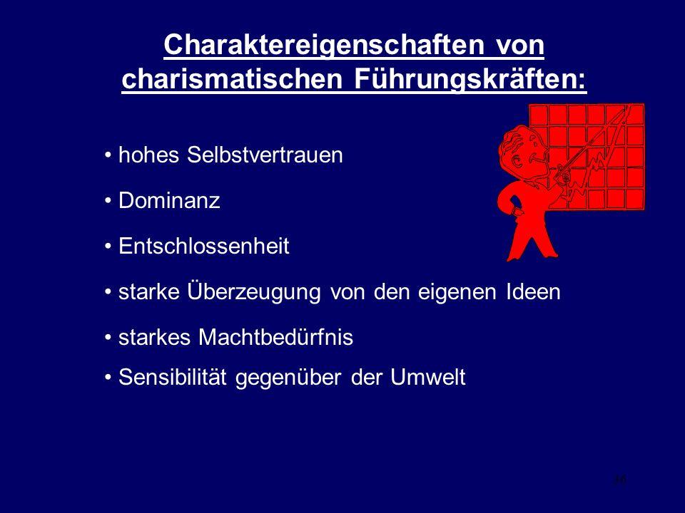 36 Charaktereigenschaften von charismatischen Führungskräften: hohes Selbstvertrauen Dominanz Entschlossenheit starke Überzeugung von den eigenen Ideen starkes Machtbedürfnis Sensibilität gegenüber der Umwelt