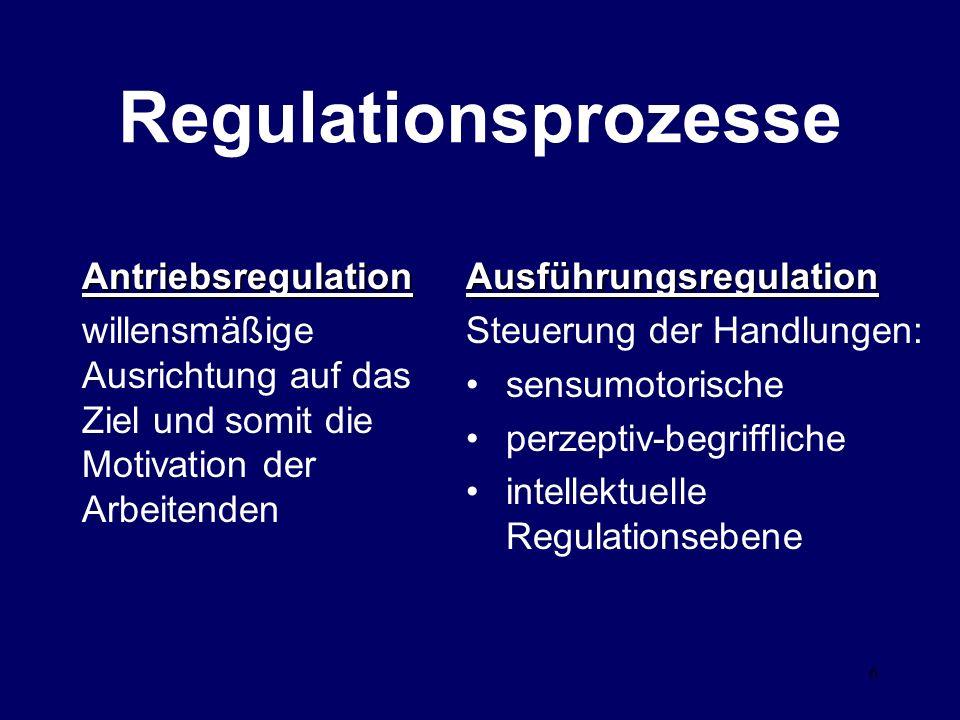 6 Antriebsregulation willensmäßige Ausrichtung auf das Ziel und somit die Motivation der ArbeitendenAusführungsregulation Steuerung der Handlungen: sensumotorische perzeptiv-begriffliche intellektuelle Regulationsebene Regulationsprozesse