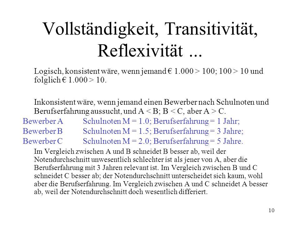 9 Vollständigkeit (a > b; b = c; c > d;...) Transitivität (wenn a > b und b > c, dann a > c) Reflexivität (a = a) Nicht-Sättigung (a + 1 > a) Stetigkeit (a, b) = (a – x, b + y) Konvexität (Sättigungsgesetz) Rationalitätsannahmen
