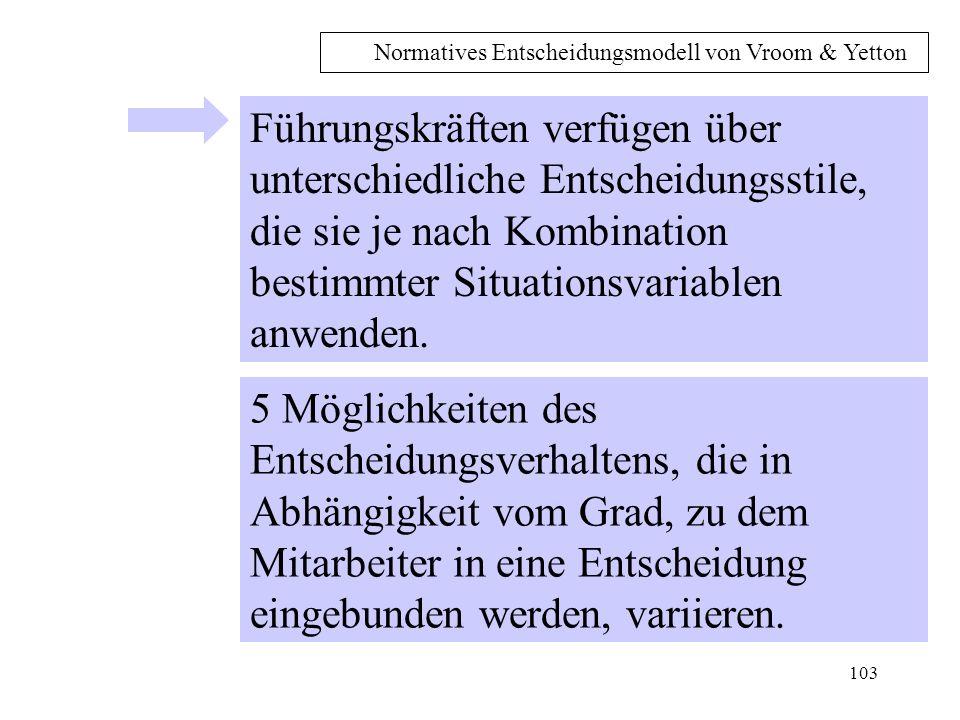 102 Normatives Entscheidungsmodell von Vroom & Yetton (1973) Als normatives Modell enthält es eine Reihe von Regeln, unter denen ein ganz bestimmtes Führungsverhalten, nämlich das Entscheidungsverhalten, einzusetzen ist, um Effektivität zu gewährleisten.