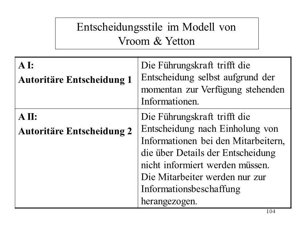 103 Normatives Entscheidungsmodell von Vroom & Yetton Führungskräften verfügen über unterschiedliche Entscheidungsstile, die sie je nach Kombination bestimmter Situationsvariablen anwenden.