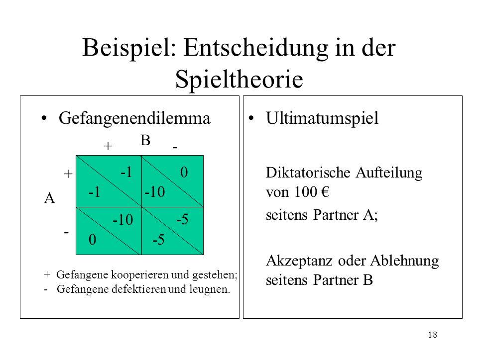 17 Beispiel für Entscheidungsaufgabe (a)Alternative A bietet: Gewinn 44 ; p =.5; Verlust 55 ; p =.4: weder Gewinn noch Verlust 0 ; p =.1; (b) Alternative B bietet: Gewinn 36 ; p =.5; Verlust 60 ; p =.3: weder Gewinn noch Verlust 0 ; p =.2;