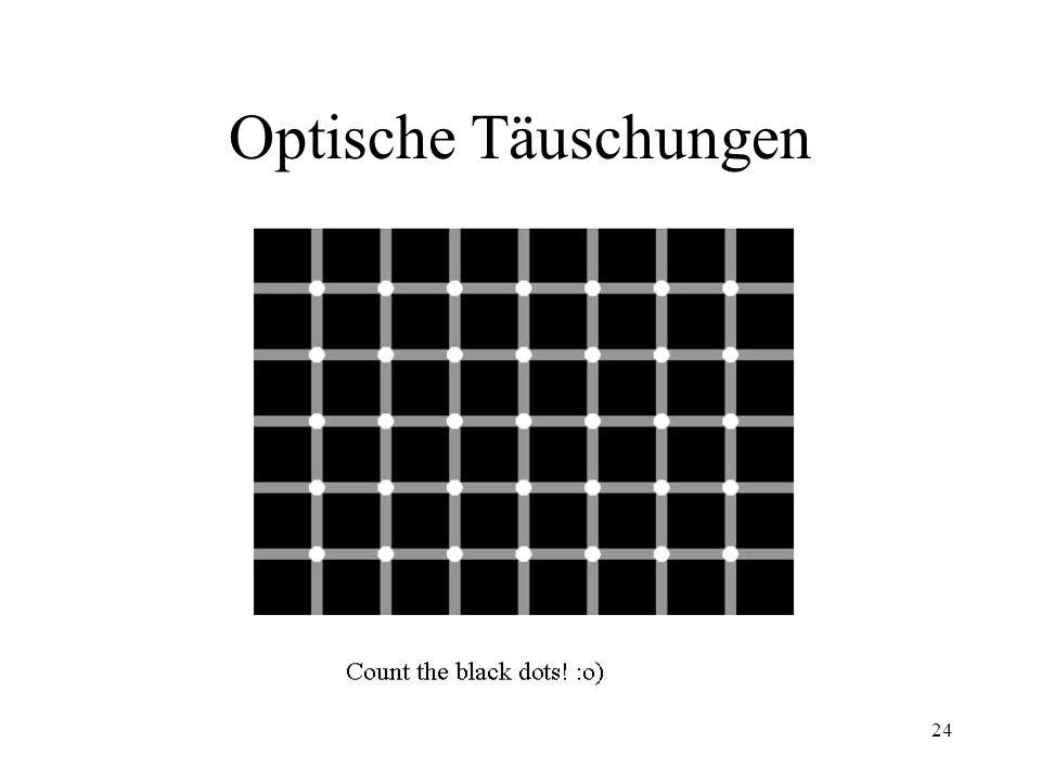 23 Limitierte Informationsverarbeitungskapazität (1) Wirklichkeit wird subjektiv interpretiert - Schätzung Durchmesser von Münzen - optische Täuschungen