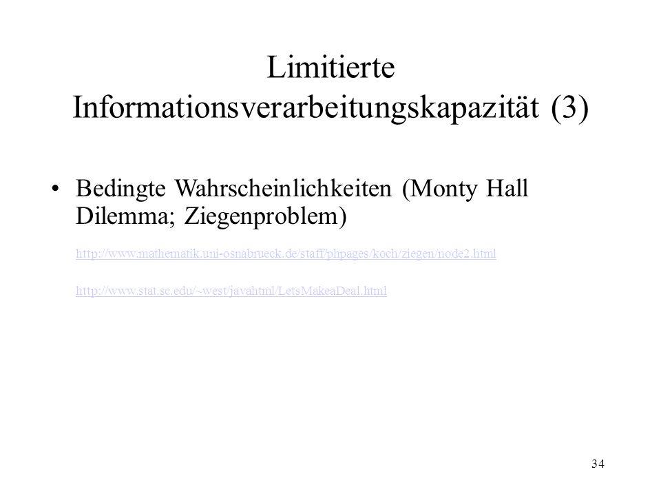 33 Limitierte Informationsverarbeitungskapazität (2) Exponentielles Wachstum (0.1 mm Papier)