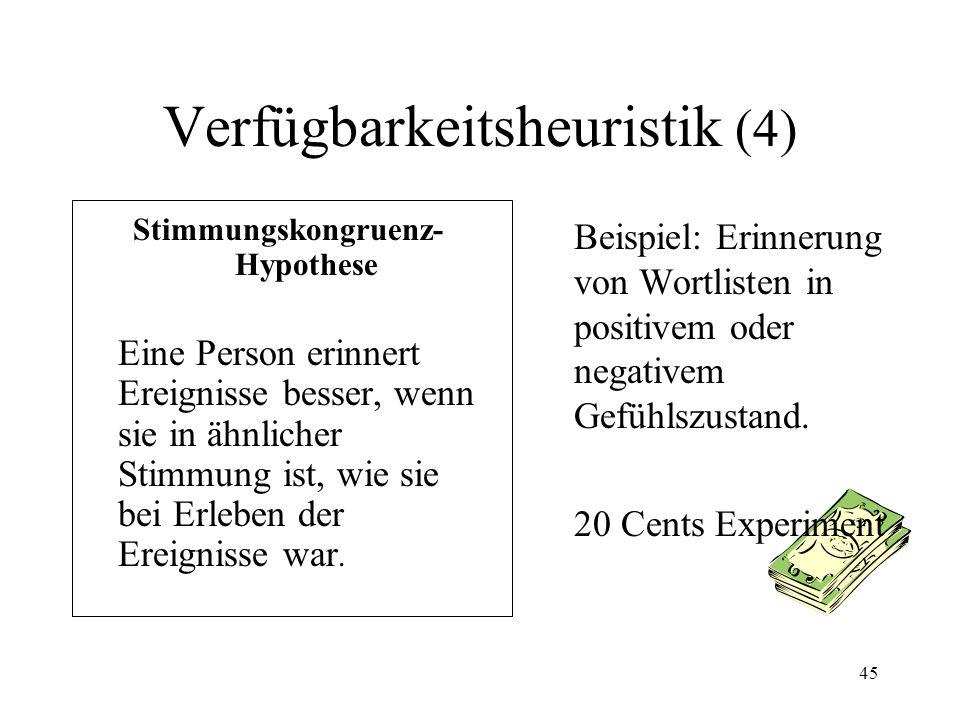 44 Verfügbarkeitsheuristik (3) Gruppierung von 10 Personen zu Subgruppen von 2 Subgruppen von 3 Subgruppen von 8 n ! / ( n – r ) ! * r ! 10 ! / ( 10 –