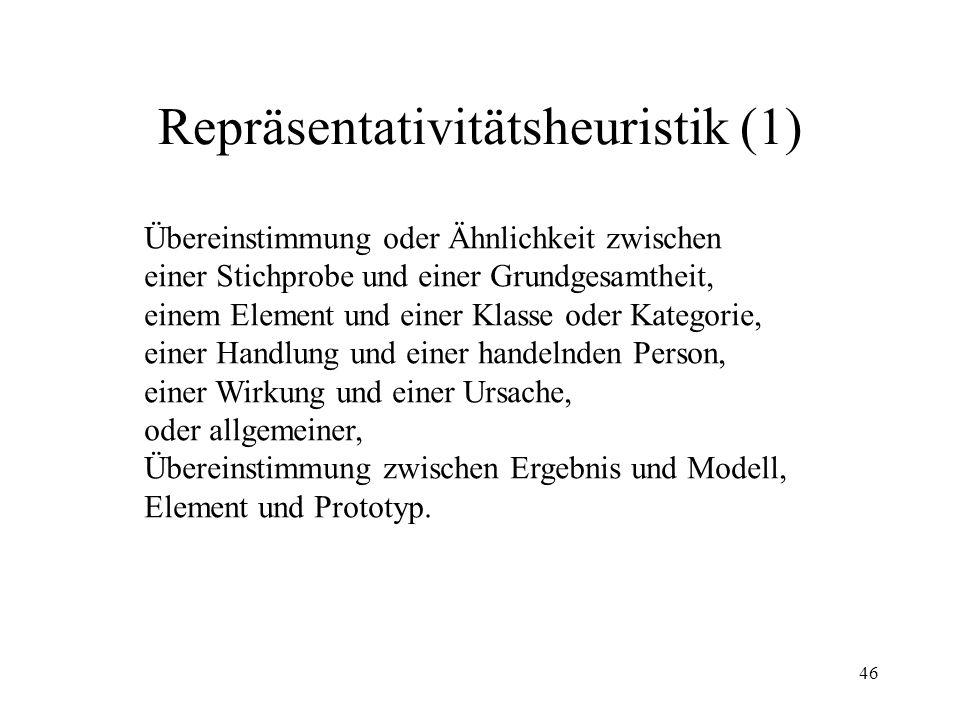 45 Verfügbarkeitsheuristik (4) Stimmungskongruenz- Hypothese Eine Person erinnert Ereignisse besser, wenn sie in ähnlicher Stimmung ist, wie sie bei E