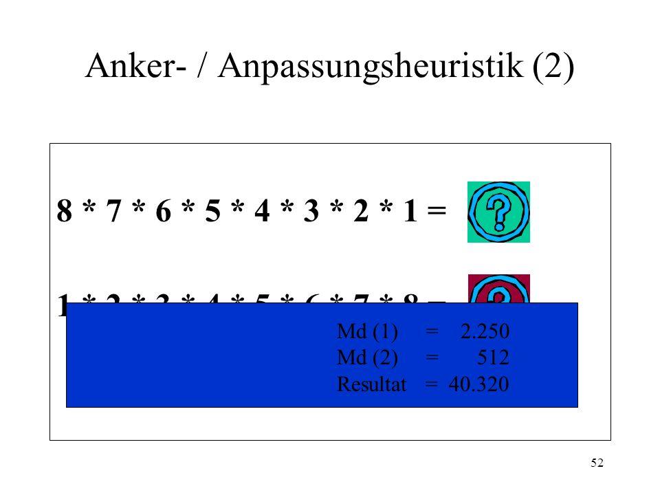 51 Anker- / Anpassungsheuristik (1) Häufigkeit- und Wahrscheinlichkeitsschätzungen werden oft mit einem Ausgangswert (Anker) begonnen, der durch die Problemformulierung oder durch eine andere Person vorgegeben ist.
