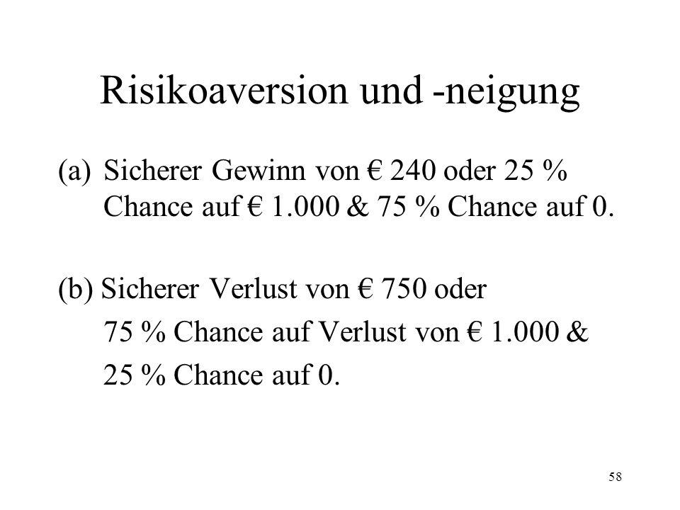 57 Prospect-Theory & Framing Risikoaversion Sichere Entscheidungssituationen werden gegenüber riskanten; riskante gegenüber ambivalenten bevorzugt.