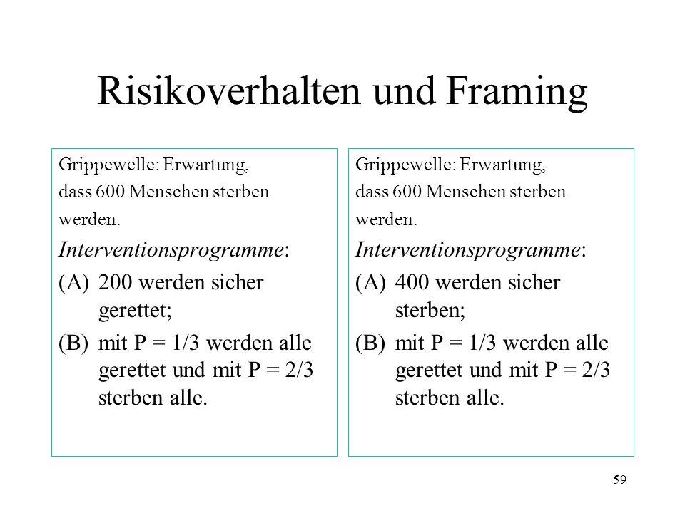 58 Risikoaversion und -neigung (a)Sicherer Gewinn von 240 oder 25 % Chance auf 1.000 & 75 % Chance auf 0. (b) Sicherer Verlust von 750 oder 75 % Chanc