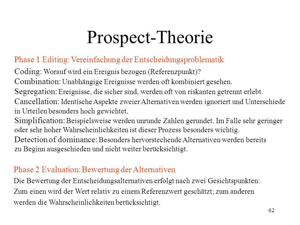 61 Prospect-Theorie Deskriptive Entscheidungstheorie, die eine Reihe von Entscheidungsanomalien unter Risiko erklären kann. Phase 1 Editing: Vereinfac