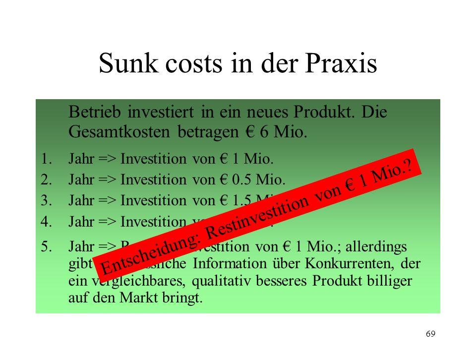 68 Sunk cost effect Vergangene Kosten und Gewinne schlagen sich in zukünftigen nieder. Wurde eine Investition getätigt, werden weitere Investitionen e