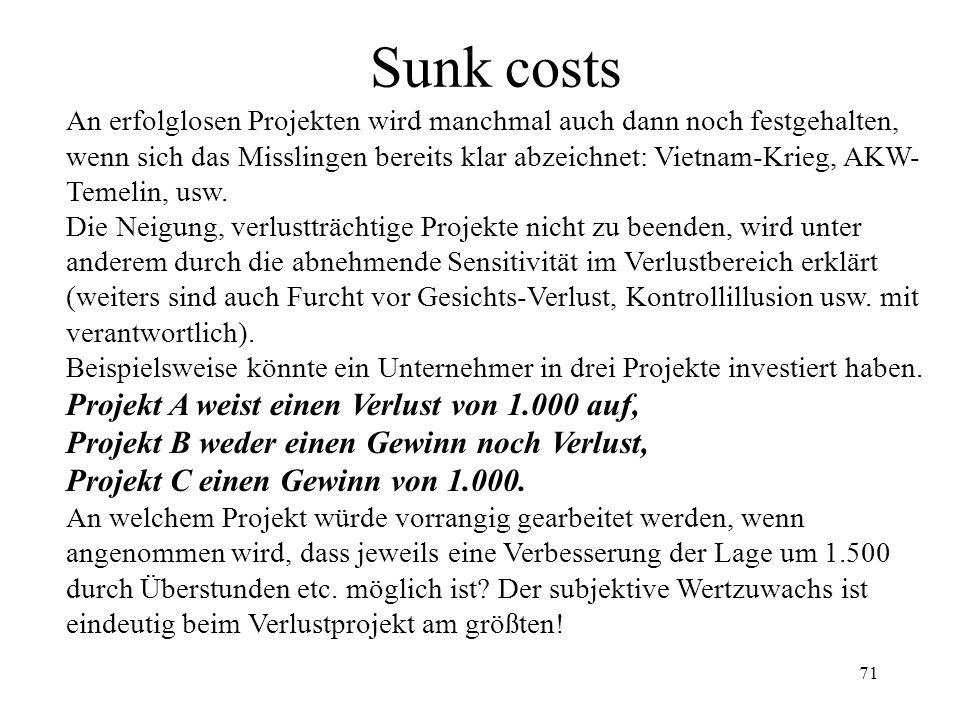 70 Sunk costs (Dispositionseffekt) Die unterschiedliche Bewertung des Risikos im Gewinn- und Verlustbereich führt bei kurzfristig orientierten Transak