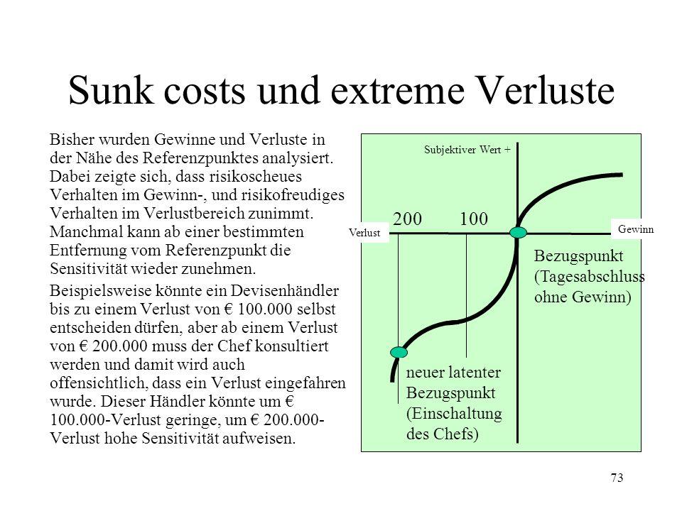 72 Subjektiver Wert + VerlustGewinn 1.500 Gewinnprojekt Subjektiver Wert + - Verlustprojekt 1.500 - 1.000 VerlustGewinn Subjektiver Wert + VerlustGewinn - 1.500 Neutrales Projekt