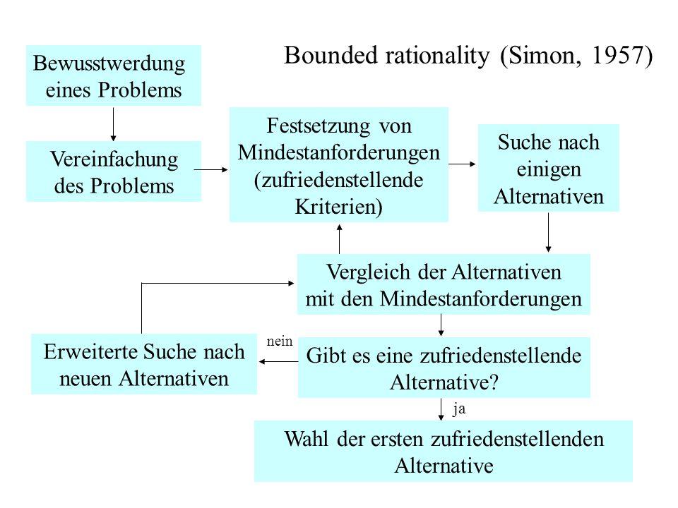 84 Bounded rationality (Simon, 1957) Menschen besitzen begrenzte Möglichkeiten (bounded rationality) zu rationalem Verhalten und begnügen sich mit zufriedenstellenden Alternativen (satisfycing principle)