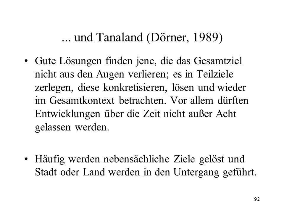 91 Überall ist Lohhausen... (Dörner, 1989) In Betrieben, in der Verwaltung, im Haushalt...; überall stehen komplexe Probleme an. Entscheidungsträger t