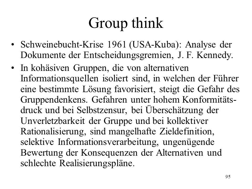 94 Treffen Gruppen bessere Entscheidungen ? Groupthink (Janis) Garbage can models (Mülleimer- Entscheidungen) (March, Olson, Simon) Muddling through (