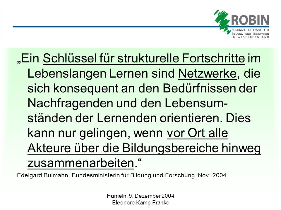 Hameln, 9. Dezember 2004 Eleonore Kamp-Franke Ein Schlüssel für strukturelle Fortschritte im Lebenslangen Lernen sind Netzwerke, die sich konsequent a