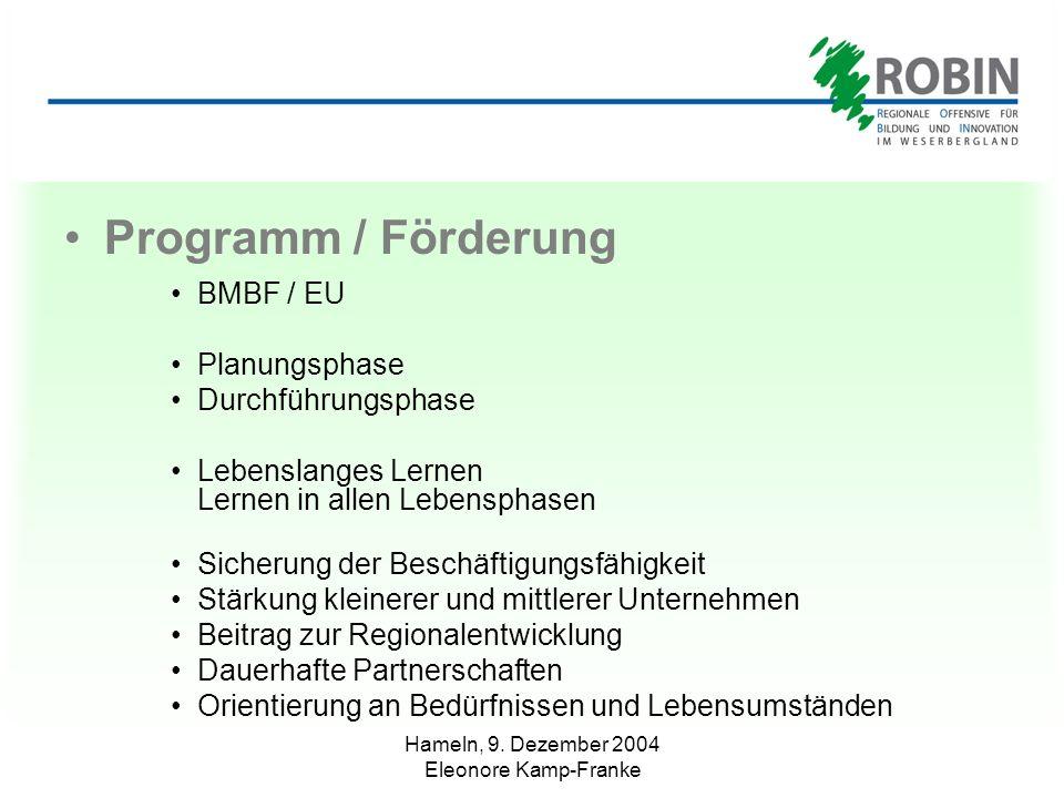 Hameln, 9. Dezember 2004 Eleonore Kamp-Franke Programm / Förderung BMBF / EU Planungsphase Durchführungsphase Lebenslanges Lernen Lernen in allen Lebe