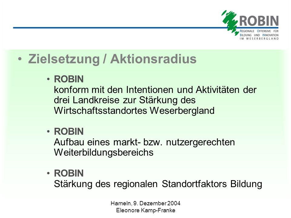 Hameln, 9. Dezember 2004 Eleonore Kamp-Franke Zielsetzung / Aktionsradius ROBIN konform mit den Intentionen und Aktivitäten der drei Landkreise zur St