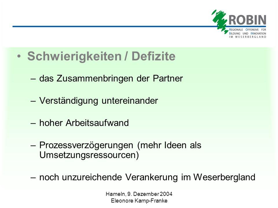 Hameln, 9. Dezember 2004 Eleonore Kamp-Franke Schwierigkeiten / Defizite –das Zusammenbringen der Partner –Verständigung untereinander –hoher Arbeitsa