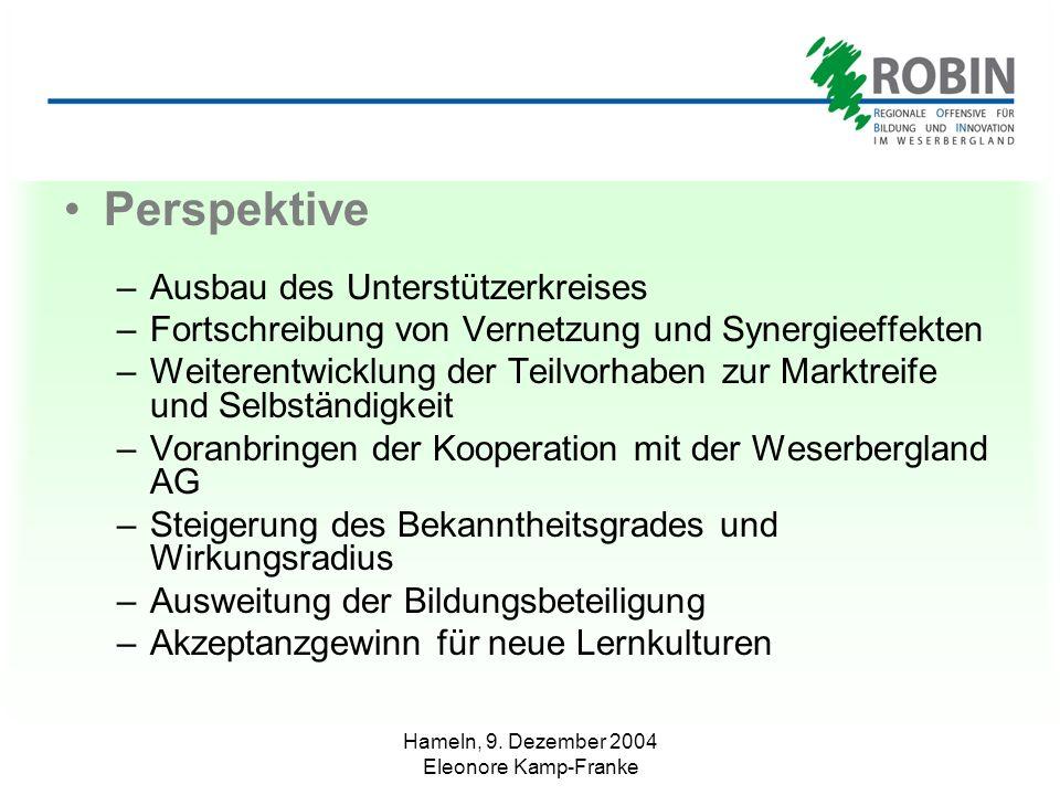 Hameln, 9. Dezember 2004 Eleonore Kamp-Franke Perspektive –Ausbau des Unterstützerkreises –Fortschreibung von Vernetzung und Synergieeffekten –Weitere