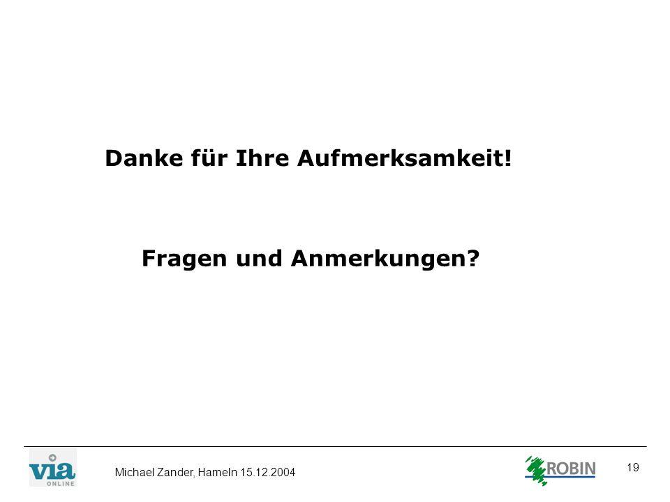 Michael Zander, Hameln 15.12.2004 19 Danke für Ihre Aufmerksamkeit! Fragen und Anmerkungen?