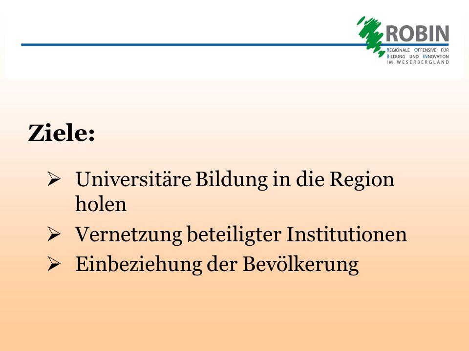 Ziele: Universitäre Bildung in die Region holen Vernetzung beteiligter Institutionen Einbeziehung der Bevölkerung