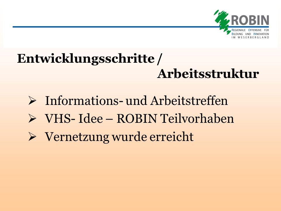 Entwicklungsschritte / Arbeitsstruktur Informations- und Arbeitstreffen VHS- Idee – ROBIN Teilvorhaben Vernetzung wurde erreicht