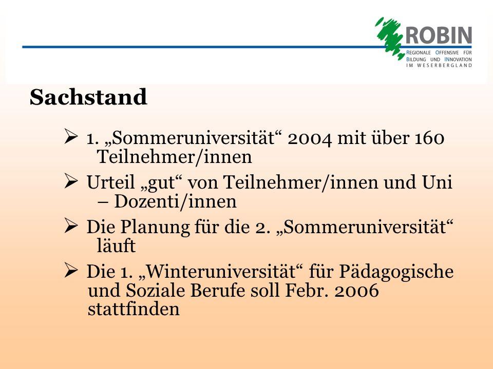 Sachstand 1. Sommeruniversität 2004 mit über 160 Teilnehmer/innen Urteil gut von Teilnehmer/innen und Uni – Dozenti/innen Die Planung für die 2. Somme