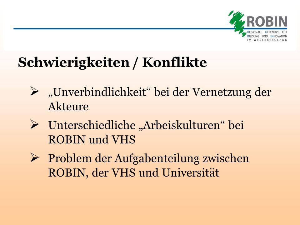 Schwierigkeiten / Konflikte Unverbindlichkeit bei der Vernetzung der Akteure Unterschiedliche Arbeiskulturen bei ROBIN und VHS Problem der Aufgabenteilung zwischen ROBIN, der VHS und Universität