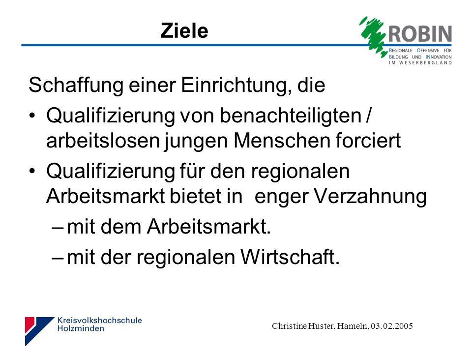 Christine Huster, Hameln, 03.02.2005 Zielgruppen Unternehmen Beschäftigte arbeitslose Menschen von Arbeitslosigkeit bedrohte Menschen im Wirtschaftsraum Holzminden – Höxter.