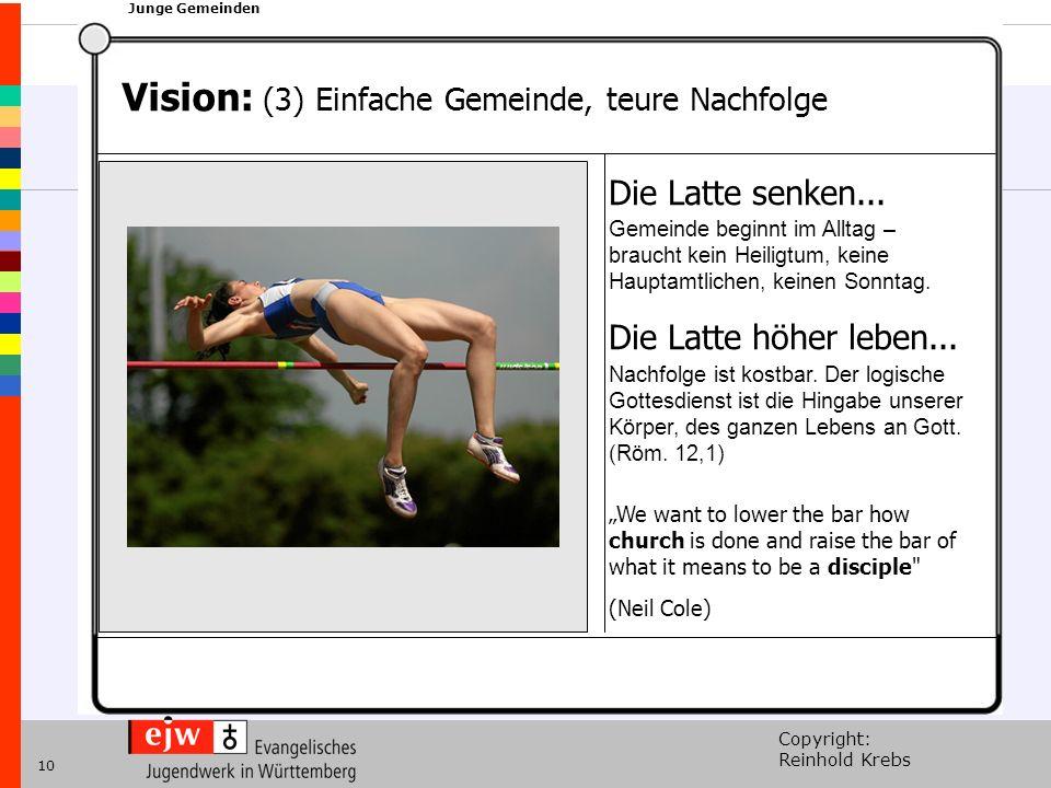 Copyright: Reinhold Krebs xxx Junge Gemeinden 10 Vision: (3) Einfache Gemeinde, teure Nachfolge Die Latte senken...