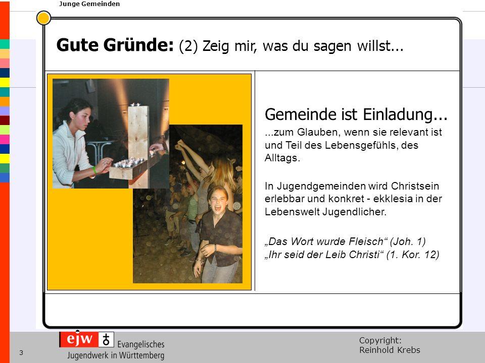 Copyright: Reinhold Krebs xxx Junge Gemeinden 3 Gute Gründe: (2) Zeig mir, was du sagen willst...