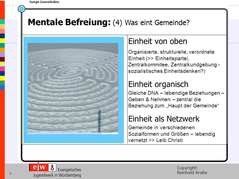 Copyright: Reinhold Krebs xxx Junge Gemeinden 7 Einheit von oben Organisierte, strukturelle, verordnete Einheit (>> Einheitspartei, Zentralkommitee, Z