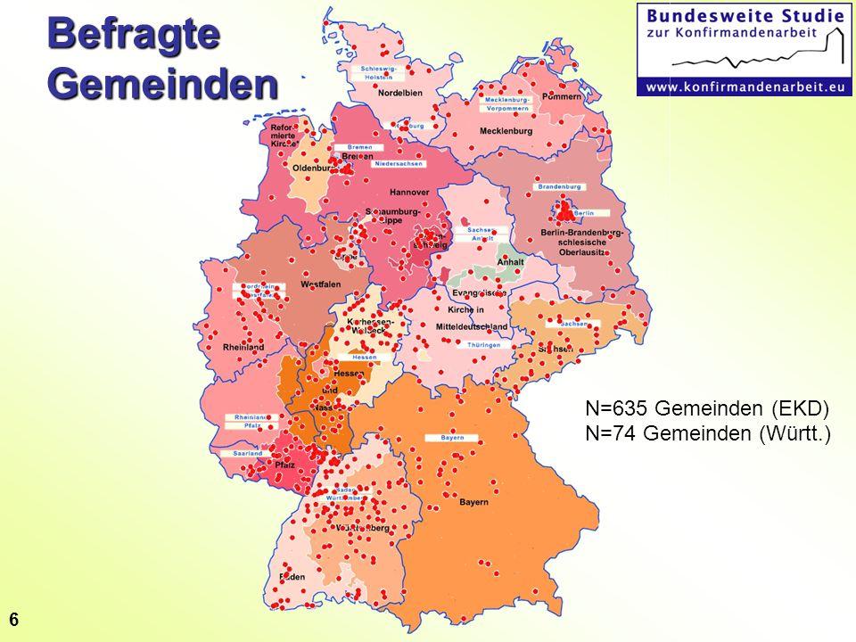 6 Befragte Gemeinden N=635 Gemeinden (EKD) N=74 Gemeinden (Württ.)