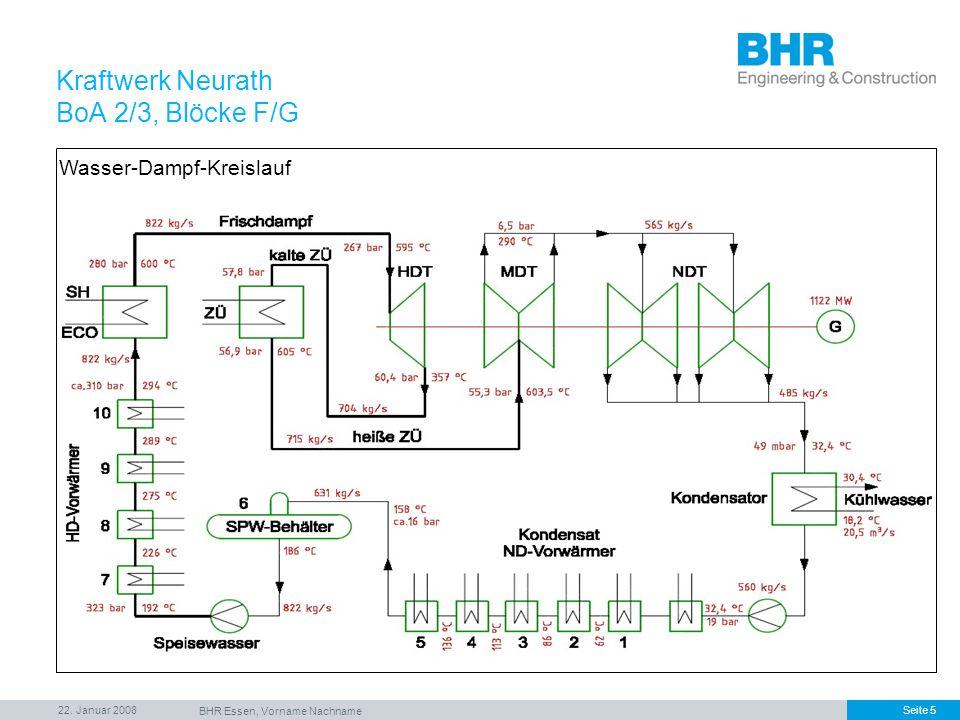 22. Januar 2008 BHR Essen, Vorname Nachname Seite 5 Kraftwerk Neurath BoA 2/3, Blöcke F/G Wasser-Dampf-Kreislauf