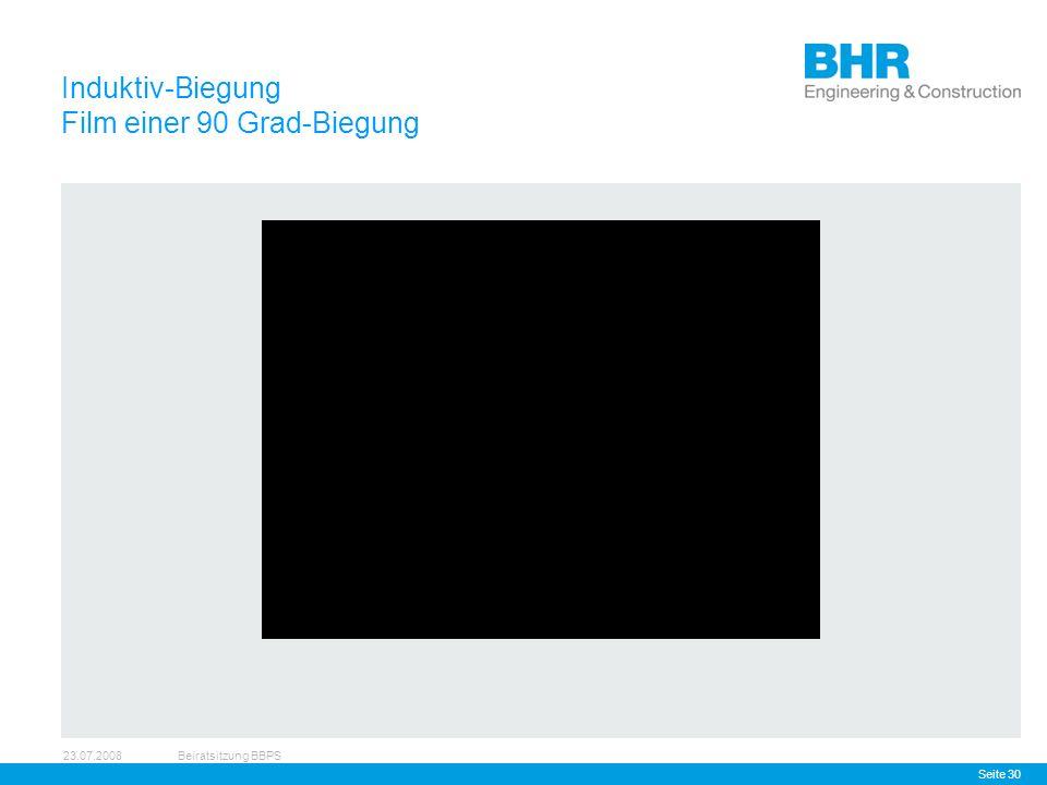 23.07.2008Beiratsitzung BBPS Seite 30 Induktiv-Biegung Film einer 90 Grad-Biegung